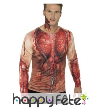T-shirt peau déchirée, imprimé