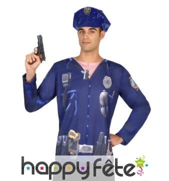 T-shirt photo réaliste de policier