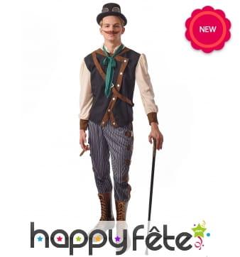 Tenue steampunk pour homme avec pantalon ligné