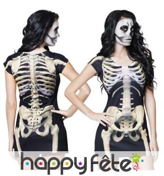 T-shirt robe courte photo-réaliste de squelette