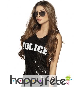 T-shirt sans manche police noir à sequins, femme