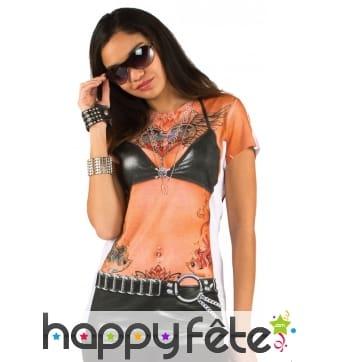 T-Shirt tatouages imprimés pour femme
