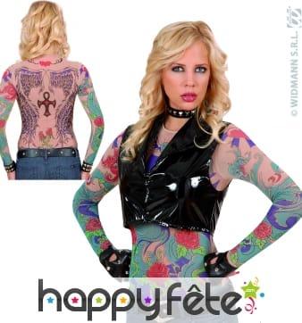 Tee-shirt tatouage femme, ailes d'ange