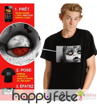 T-shirt vivant poupée oeil de sang