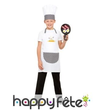 Tablier, toque et poile de cuisinier pour enfant