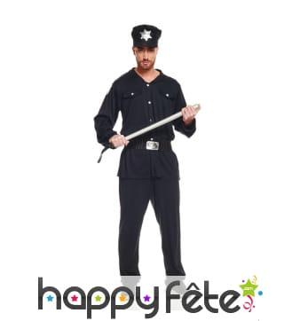 Tenue unie de policier pour homme adulte