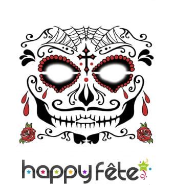 Tatouage visage Dia de los muertos masculin
