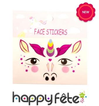 Tatouages visage de licorne pour enfant