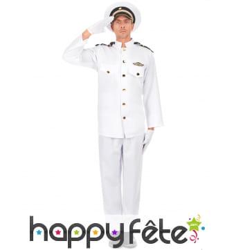 Uniforme blanc d'officier de la marine pour homme