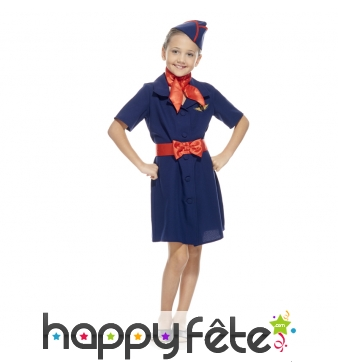 Uniforme bleu de petite hôtesse de l'air