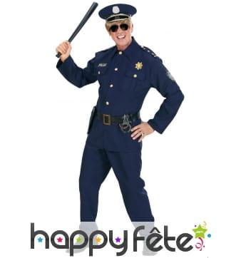 Uniforme bleu de policier pour adulte