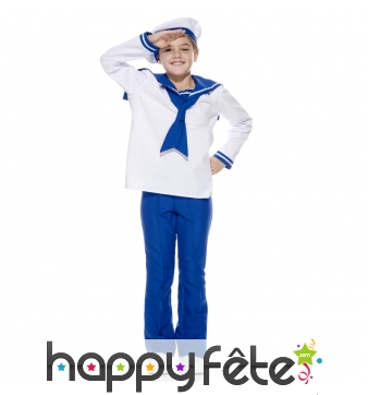 Uniforme blanc et bleu de petit marin