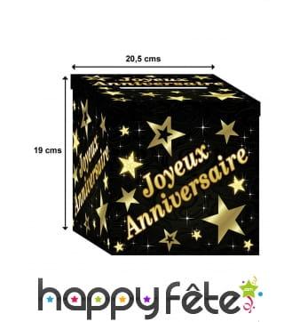 Urne d'anniversaire dorée et noire, 19 x 20,5 cm