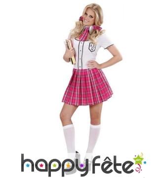 Uniforme d'écolière pour adulte, jupe plissée