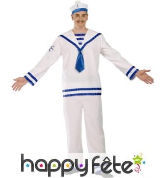 Uniforme de marin blanc et bleu