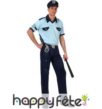 Uniforme de policier bleu pour homme adulte