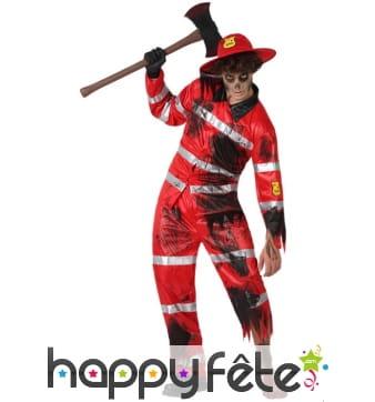 Uniforme de pompier zombie pour adulte