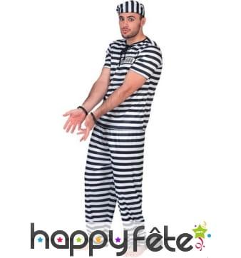 Uniforme de prisonnier rayé noir et blanc, adulte