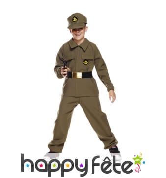 Uniforme de soldat kaki pour enfant