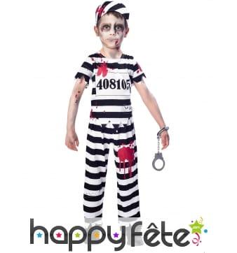 Uniforme de zombie prisonnier rayé pour enfant