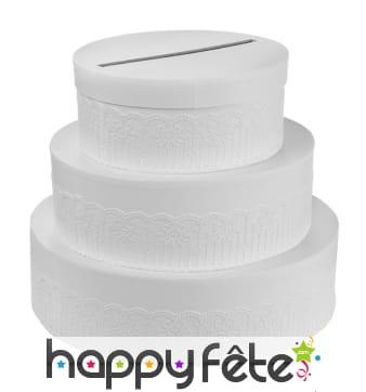 Urne gâteau de mariage blanc