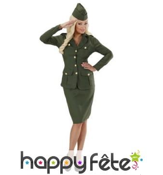 Uniforme kaki de femme soldat pour adulte