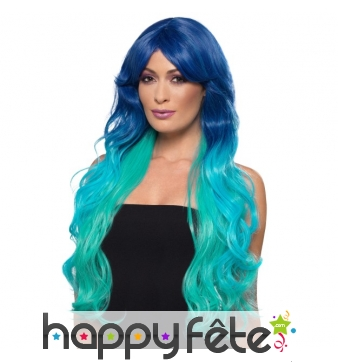 Ultra longue perruque bleue de sirène