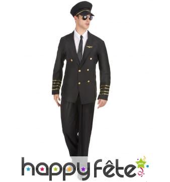 Uniforme noir de pilote de ligne