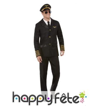 Uniforme noir de pilote pour adulte