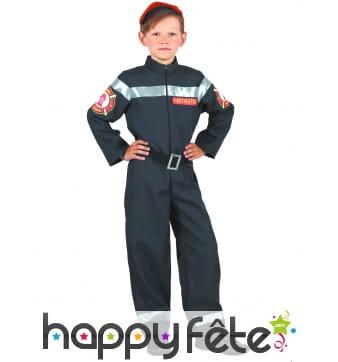 Uniforme noir de pompier pour enfant