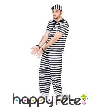 Uniforme rayé de prisonnier noir et blanc, adulte