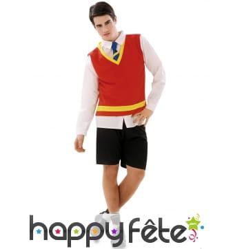 Uniforme rouge d'écolier en short pour homme