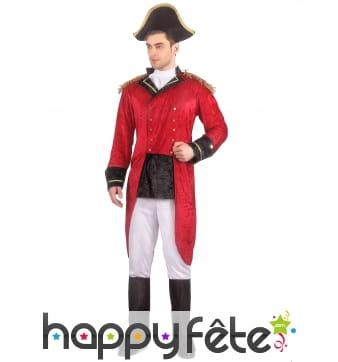 Uniforme rouge de Napoléon effet velours