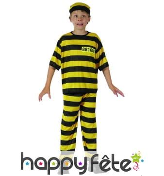 Uniforme rayé jaune et noir d'enfant prisonnier