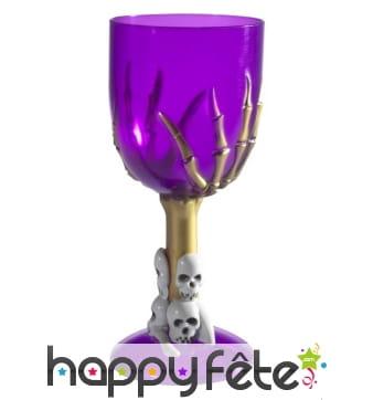 Verre à vin gothique violet, pied squelette