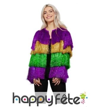 Veste disco colorée à franges pour femme