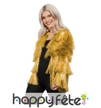 Veste disco dorée à franges pour femme