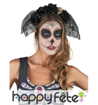 Voile Dia De Los Muertos noir avec fleurs
