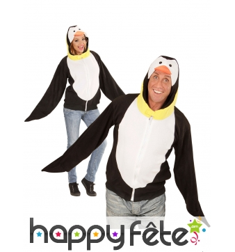Veste de pingouin à capuche pour adulte