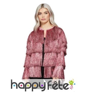 Veste disco rose à franges pour femme