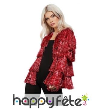 Veste disco rouge à franges pour femme
