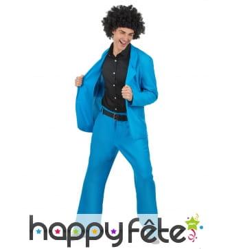 Veste et pantalon disco bleu adulte