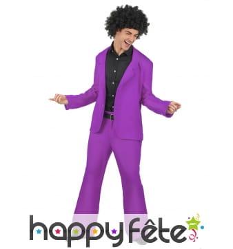 Veste et pantalon disco violet pour homme