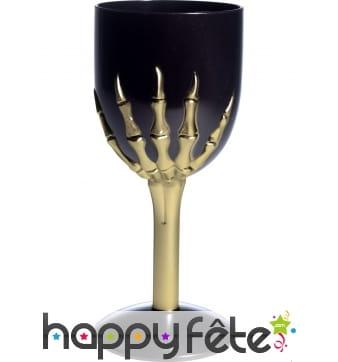 Verre halloween gothique noir pied squelette