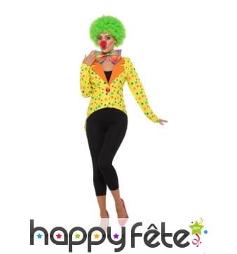 Veste jaune de clown à pois pour femme