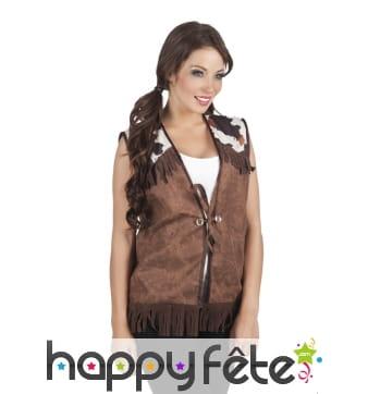 Veste marron style western pour femme