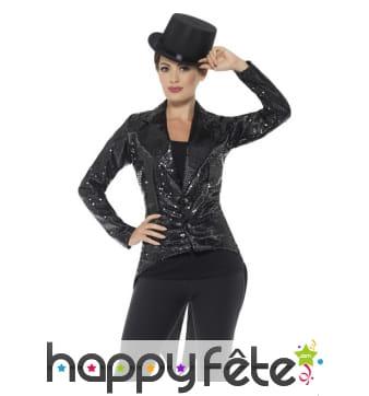 Veste queue de pie à sequins noirs pour femme