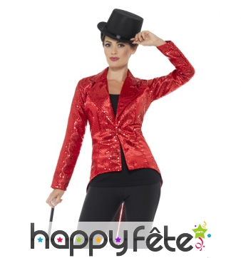 Veste queue de pie rouge à sequins pour femme