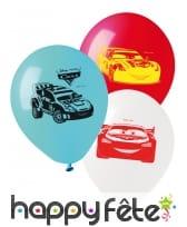 10 Ballons Cars blancs bleus rouges de 28 cm