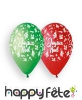 10 Ballons colorés motif joyeux noel, 30cm